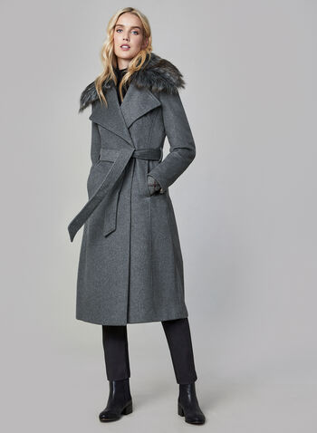 Karl Lagerfeld Paris - Belted Wool Blend Coat, Grey,  coat, wool coat, wool, wool blend, faux fur, faux fur coat, belted coat, long coat, winter coat, fall 2019, winter 2019