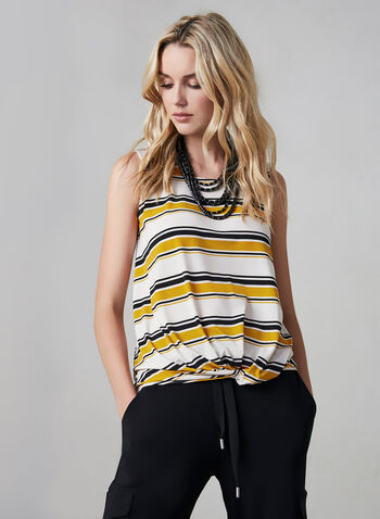 Stripe Print Sleeveless Top, Yellow,  stripe print, knot detail, sleeveless, made in Canada, fall 2019, winter 2019
