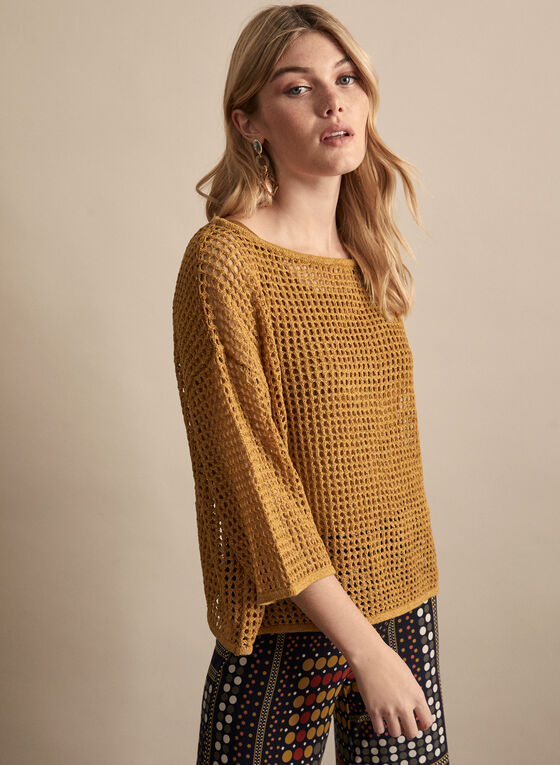 Open Knit Sweater, Brown