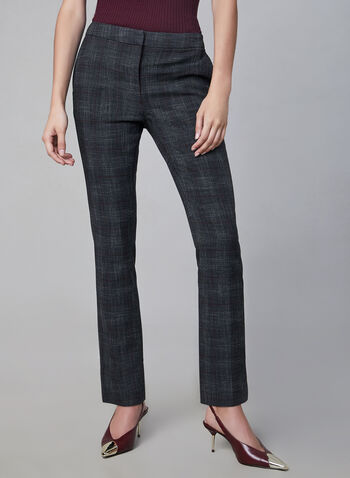 Plaid Print Slim Leg Pants, Grey, hi-res,  pants, trousers, slim leg, plaid print, fall 2019, winter 2019