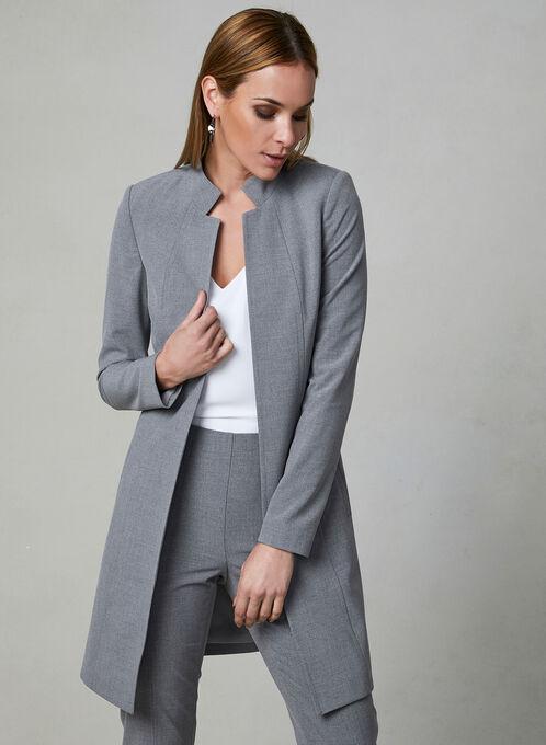 Notched Collar Redingote Jacket, Grey, hi-res