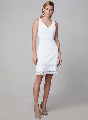 Kensie - Sleeveless Ottoman Dress, White, hi-res