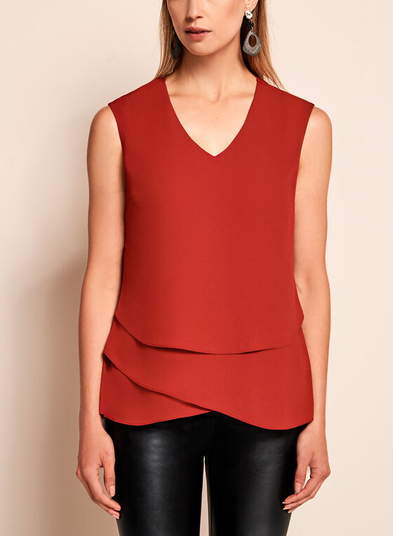 Sleeveless Triple Layer Blouse, Orange, hi-res