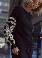 Soutache Detail Long Sleeve Top, Black