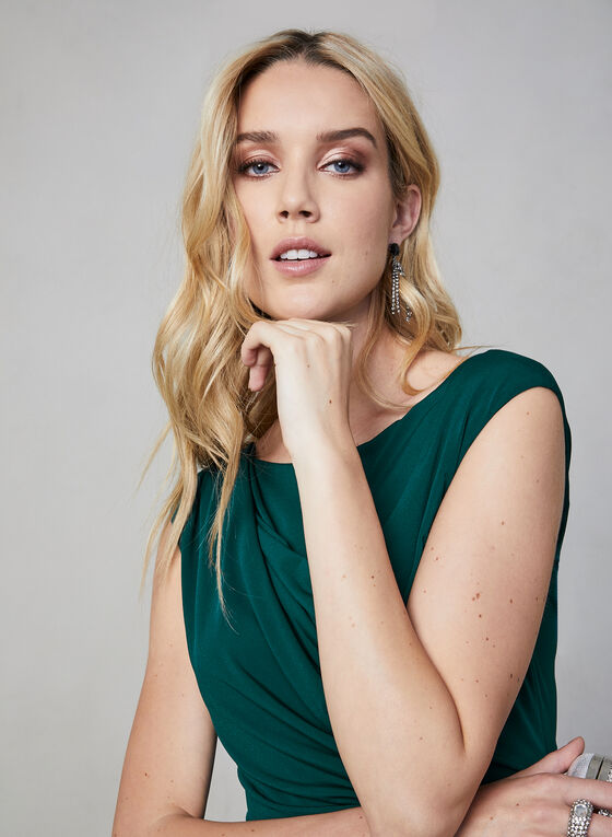 Maggy London - Ruched Jersey Dress, Green, hi-res