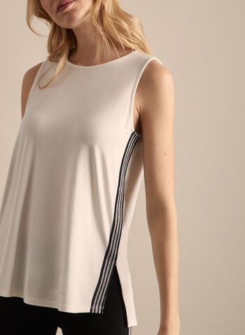 Sequin Detail Sleeveless Top, Off White,  top, sleeveless top, sequins, tank top, high-low hem, jersey top, spring top, spring 2020, summer 2020