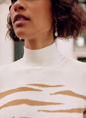 Pull à col montant en jacquard zébré, Blanc cassé,  pull, haut, chandail, col montant, manches longues, motif, jacquard, zébré, tricot côtelé, automne 2021