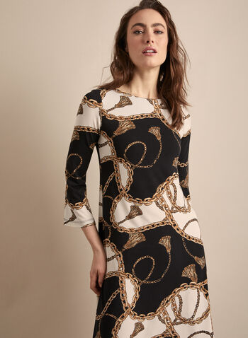Chain Motif 3/4 Sleeve Dress, Black,  dress, day dress, chain, jersey, boat neck, 3/4 sleeves, spring summer 2020
