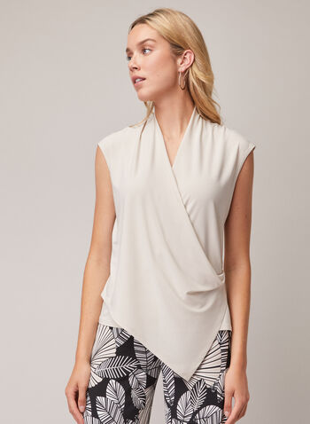 Joseph Ribkoff - Cap Sleeve Faux Wrap Top, Off White,  top, cap sleeves, drape, jersey, wrap, asymmetric, spring summer 2020