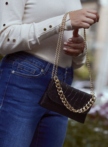 Convertible Crocodile Motif Belt Bag, Black,  fall 2021, accessories, handbags, belt bag, bag, belt, shoulder bag, small bag, croco, crocodile, vegan leather, faux leather, crocodile leather, embossed, patterned, purse, convertible, adjustable, 2 in 1, multi-purpose, removable strap, chain, chain detail, flap style