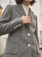 Stretch Wool Blend Coat, Grey
