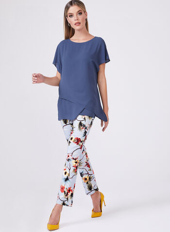 Floral Print Ankle Pants, Blue, hi-res