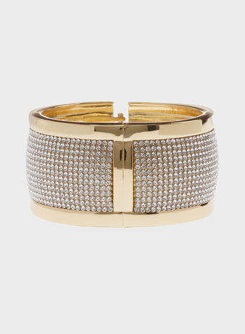 Wide Crystal Hinge Bracelet, Gold, hi-res
