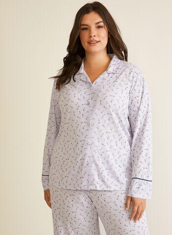 Floral Print Pyjama Set , Purple,  fall winter 2020, pyjama set, floral print, wide leg, contrast, elastic waist, shirt collar