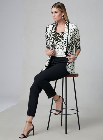 Abstract Print Open Front Top, White, hi-res,  ¾ sleeves, jersey, shawl collar, spring 2019