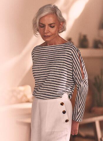 Stripe Print Slit Sleeve Top, Blue,  top, stripe print, 3/4 sleeves, boat neck, slit sleeves, linen, spring summer 2020