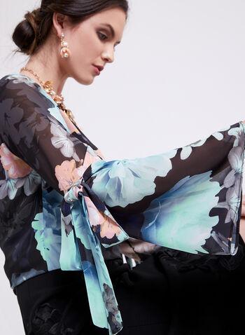 Floral Print Bell Sleeve Blouse, Blue, hi-res