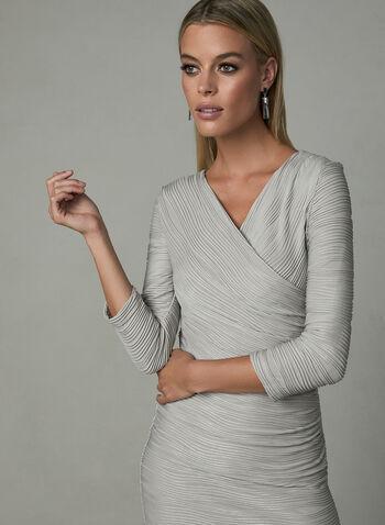 Joseph Ribkoff - Robe texturée style portefeuille, Brun, hi-res