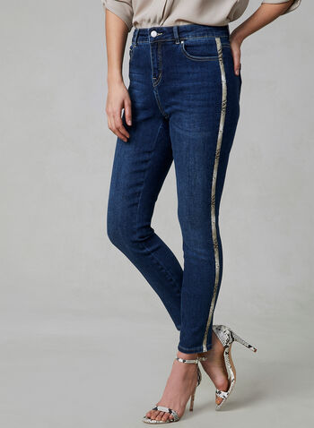 Slim Leg Sculpting Jeans, Blue, hi-res