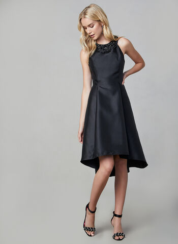 Adrianna Papell - Robe à col ornementé, Noir, hi-res,  robe cocktail, satin, sans manches, col cléopâtre, automne hiver 2019