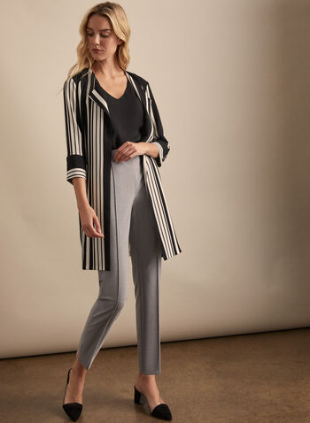 Open Front Striped Jacket, Black,  jacket, open, striped, 3/4 sleeves, pockets, long, spring summer 2020