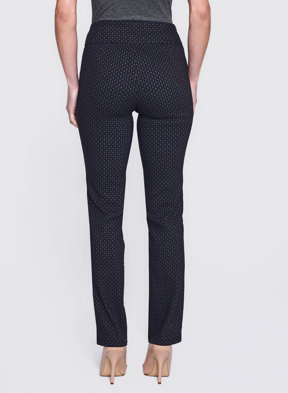 Straight Leg Pull-On Jacquard Pants, Black, hi-res