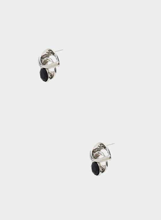 Clous d'oreilles ronds en métal, Noir, hi-res