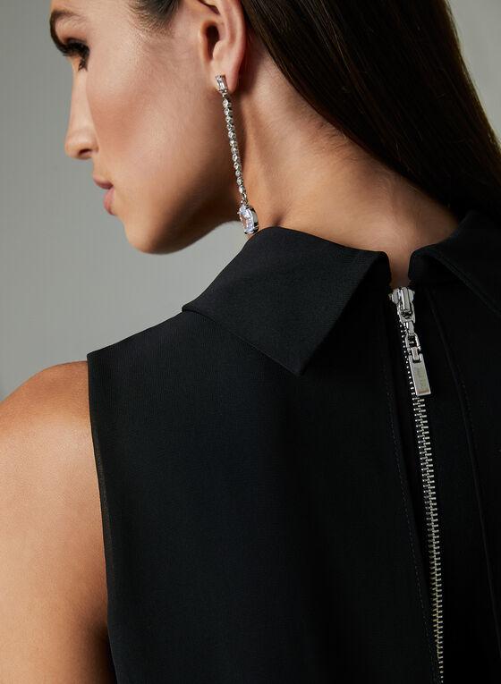 Joseph Ribkoff - Robe en mousseline et détails bijoux, Noir, hi-res