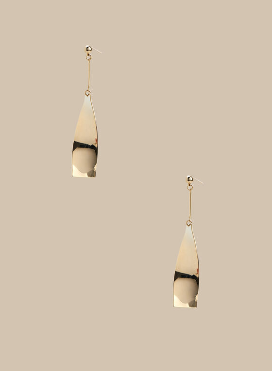 Metallic Dangle Earrings, Gold