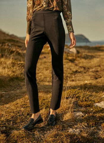 Pantalon à enfiler à jambe étroite, Noir,  pantalons, pantalon, bas, jeans, jean, à enfiler, pull-on, jambe étroite, coutures décoratives, automne hiver, 2021