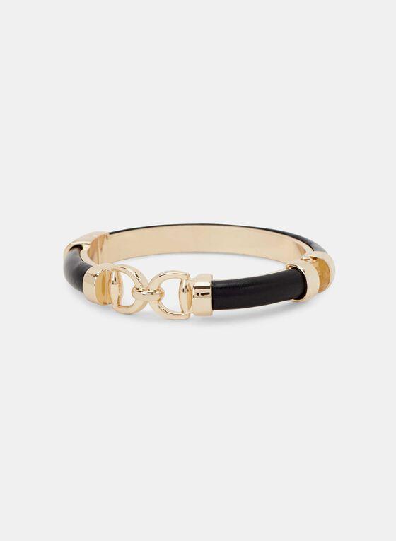 Metal Link Hinge Bracelet , Black, hi-res