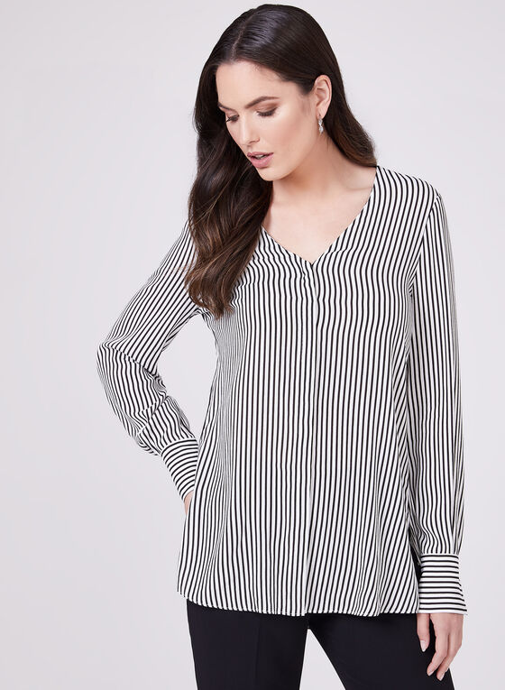 Stripe Print Long Sleeve Blouse, Black, hi-res