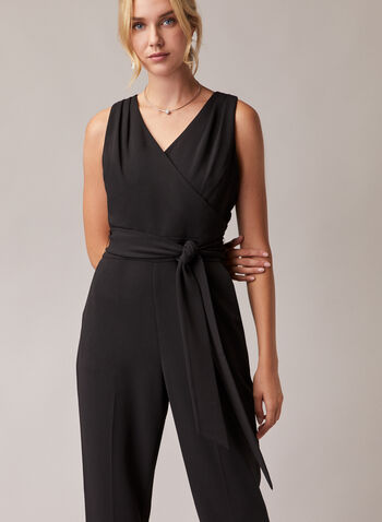 Sleeveless Belted Jumpsuit, Black,  jumpsuit, sleeveless, v-neck, belt, crepe, straight leg, pockets, spring summer 2020