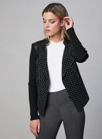 Vex - Houndstooth Open Front Jacket , Black, hi-res,  houndstooth, jacket, knit, long sleeves, notched collar, fall 2019, winter 2019