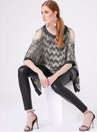 Blouse poncho motif zig zag et fibres métallisées, Jaune, hi-res