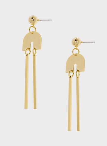 Boucles d'oreilles à pendants baguettes, Or, hi-res