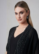 Châle de style ruana avec bordure de pierres, Noir, hi-res
