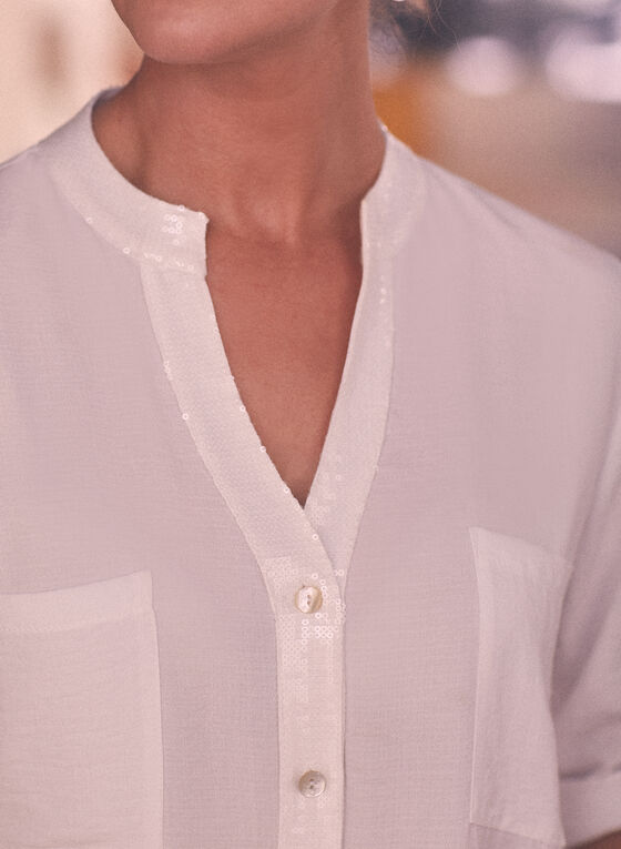 Joseph Ribkoff - Blouse à détails sequins, Blanc
