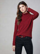 Ribbed Print Zipper Detail Sweater, Red