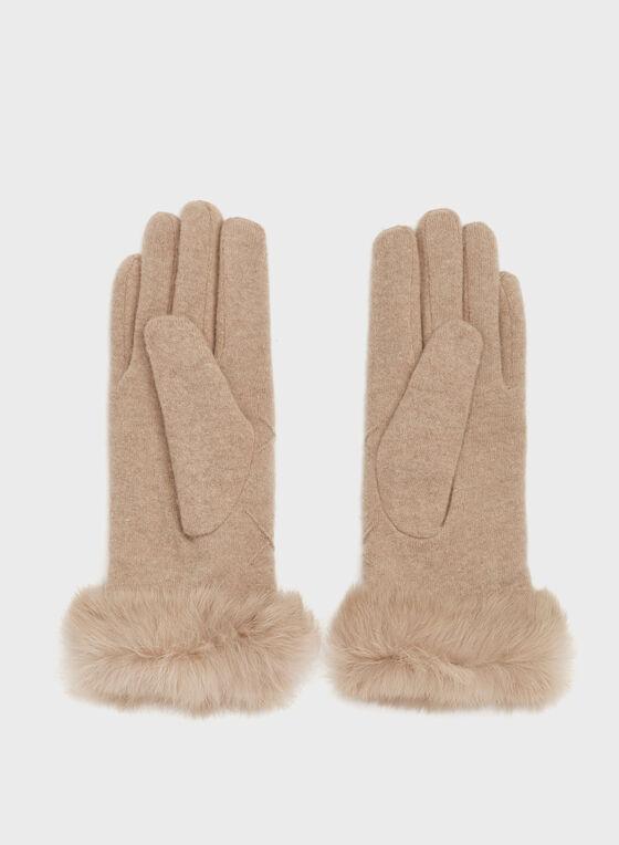 Gants texturés en tricot laine et fourrure , Brun, hi-res
