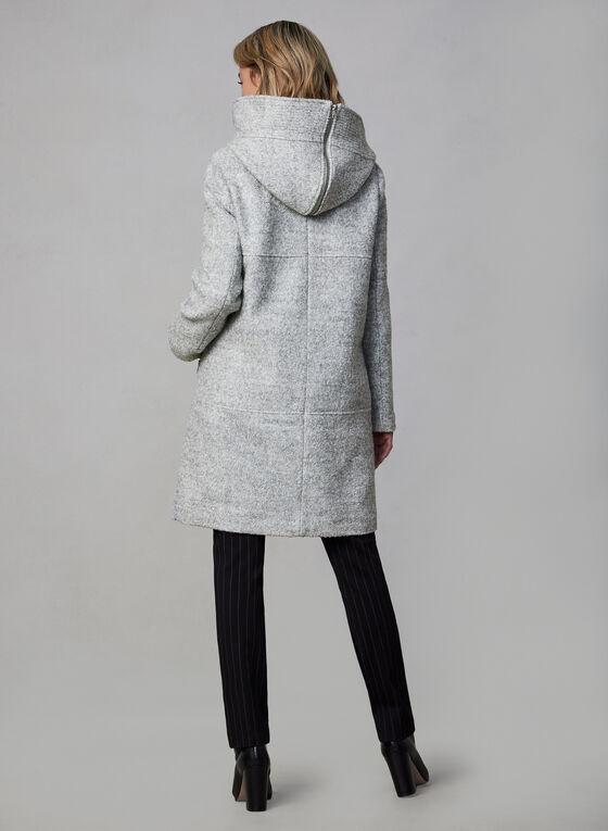 Marcona - Manteau en laine à capuchon zippé, Gris