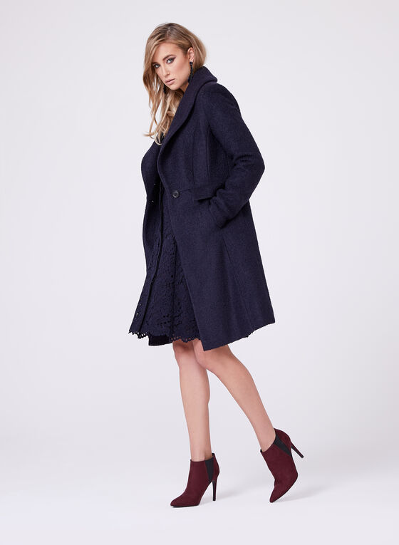 Novelti - Faux Fur Trimmed Wool Blend Coat, Blue, hi-res