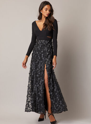 BA Nites - Long Sleeve Floral Skirt Dress, Black,  evening dress, v-neck, floral appliqué, fall winter 2020