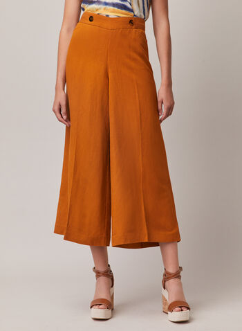Linen Gaucho Pants, Yellow,  pants, gaucho, wide leg, linen, spring summer 2020