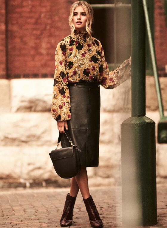 Vegan Leather Pencil Skirt, Black