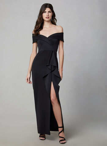 BA Nites - Off-the-Shoulder Dress, Black, hi-res,  evening gown, off-the-shoulder, draped, slit, heart shaped neckline, fall 2019, winter 2019
