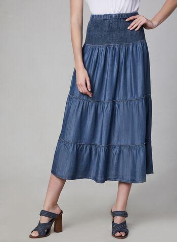 Linea Domani - Pull-On Skirt, Blue, hi-res,  skirt, pull-on, elastic waist, spring 2019, summer 2019