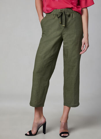 Pull-On Linen Culottes, Green, hi-res