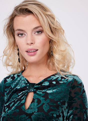 Burnout Velvet Keyhole Top, Green, hi-res