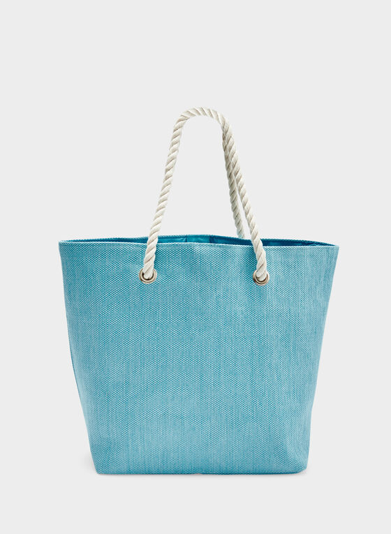 Tote Bag With Metallic Message & Tassels, Blue, hi-res